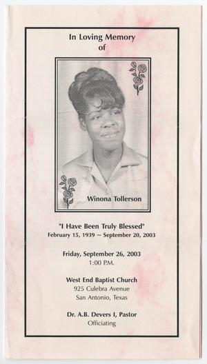 Primary view of object titled '[Funeral Program for Winona Tollerson, September 26, 2003]'.