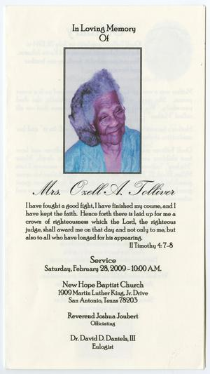 Primary view of object titled '[Funeral Program for Oxell A. Tolliver, February 28, 2009]'.