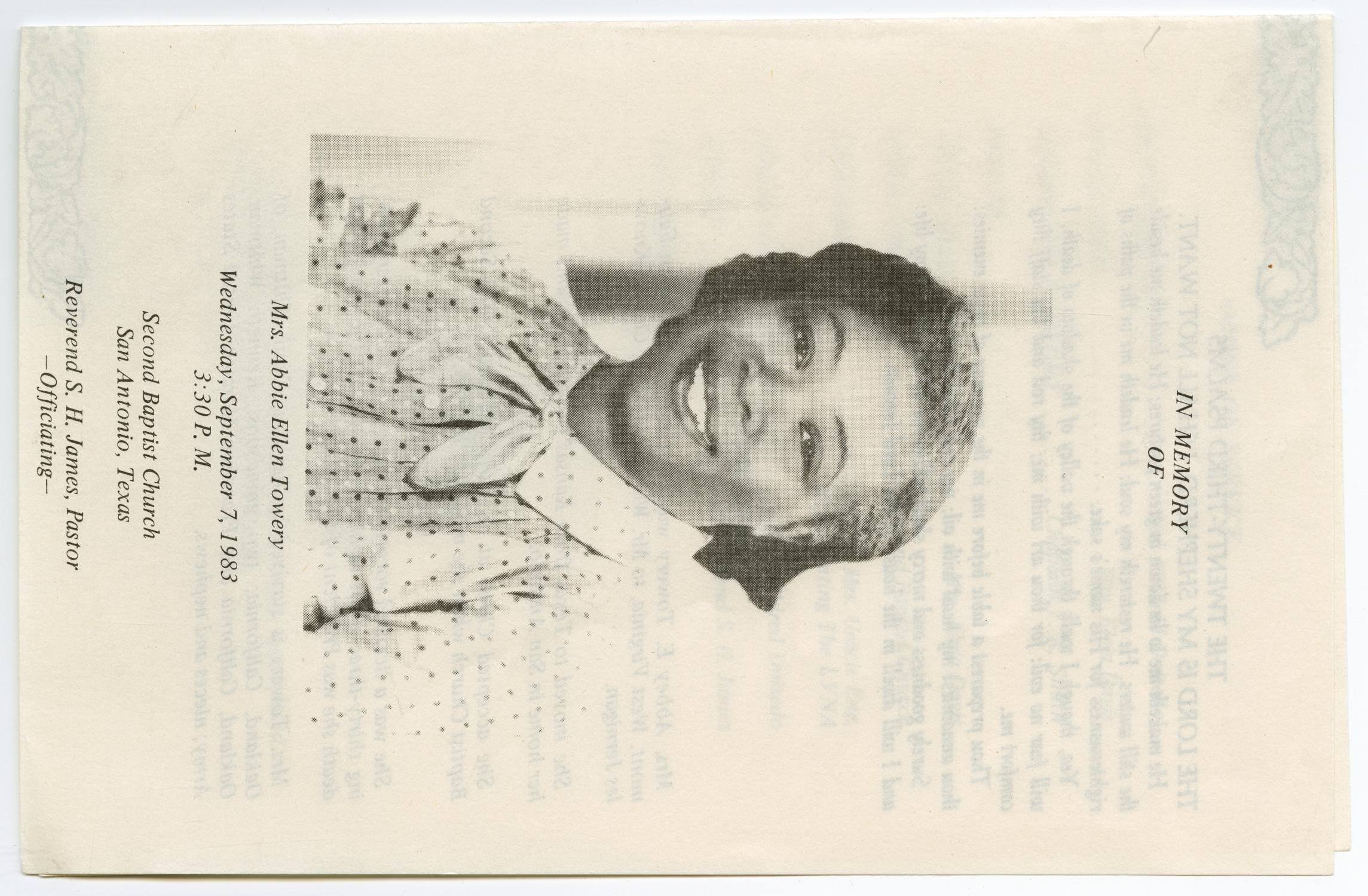 [Funeral Program for Abbie Ellen Towery, September 7, 1983]                                                                                                      [Sequence #]: 1 of 3