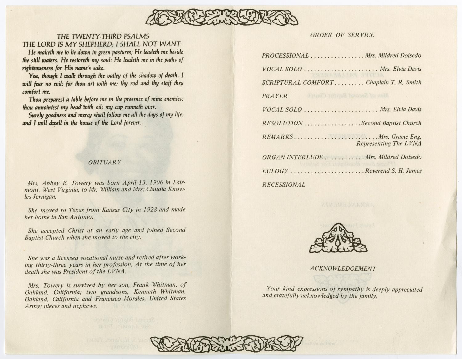 [Funeral Program for Abbie Ellen Towery, September 7, 1983]                                                                                                      [Sequence #]: 2 of 3
