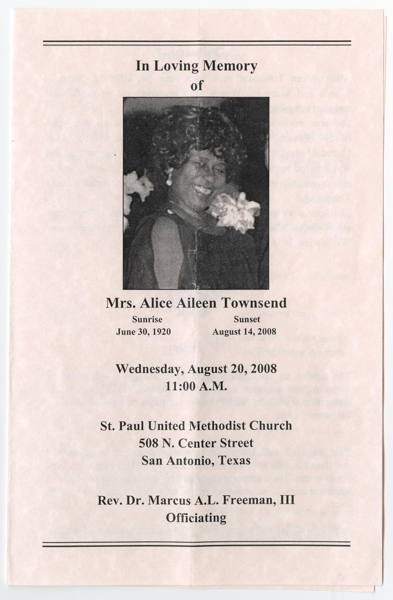 [Funeral Program for Alice Aileen Townsend, August 20, 2008]                                                                                                      [Sequence #]: 1 of 3