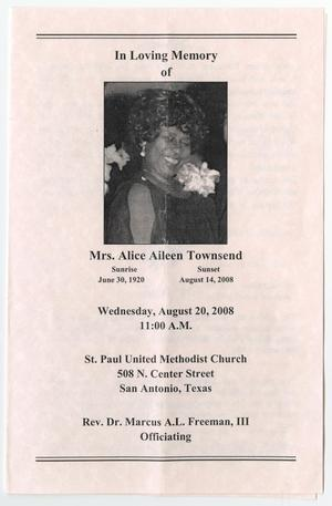 Primary view of object titled '[Funeral Program for Alice Aileen Townsend, August 20, 2008]'.