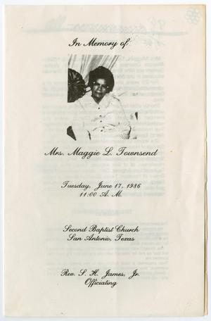 Primary view of object titled '[Funeral Program for Maggie L. Townsend, June 17, 1986]'.