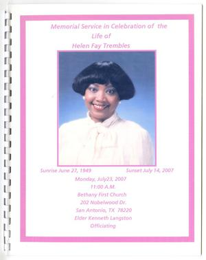 Primary view of object titled '[Funeral Program for Helen Fay Trembles, July 23, 2007]'.