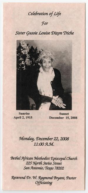Primary view of object titled '[Funeral Program for Gussie Louise Dixon Triche, December 22, 2008]'.
