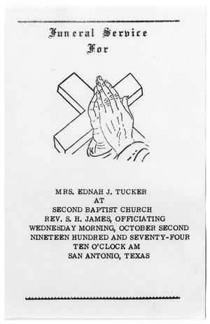 Primary view of object titled '[Funeral Program for Ednah J. Tucker, October 2, 1974]'.