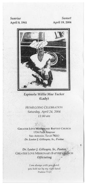 Primary view of object titled '[Funeral Program for Espinola Willie Mae Tucker, April 24, 2004]'.