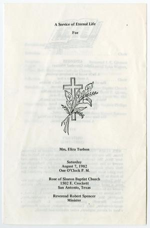 [Funeral Program for Eliza Turbon, August 7, 1982]