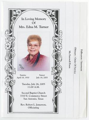 Primary view of object titled '[Funeral Program for Edna M. Turner, July 26, 2005]'.