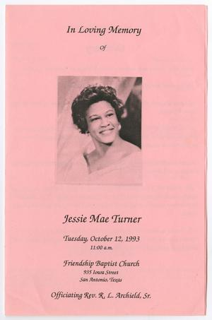Primary view of object titled '[Funeral Program for Jessie Mae Turner, October 12, 1993]'.