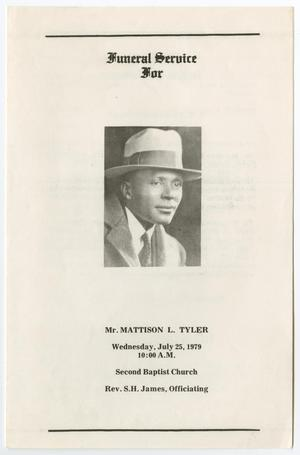 Primary view of object titled '[Funeral Program for Mattison L. Tyler, July 25, 1979]'.