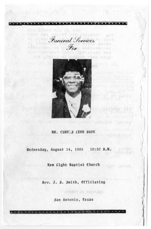 Primary view of object titled '[Funeral Program for Curtis Leon Wade, August 14, 1985]'.