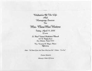 Primary view of object titled '[Funeral Program for Clara Mae Waiters, April 14, 2000]'.