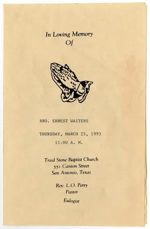 Primary view of object titled '[Funeral Program for Ernest Waiters, March 25, 1993]'.