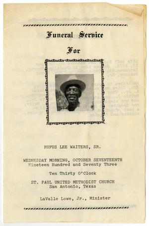 Primary view of object titled '[Funeral Program for Rufus Lee Waiters, Sr., October 17, 1973]'.