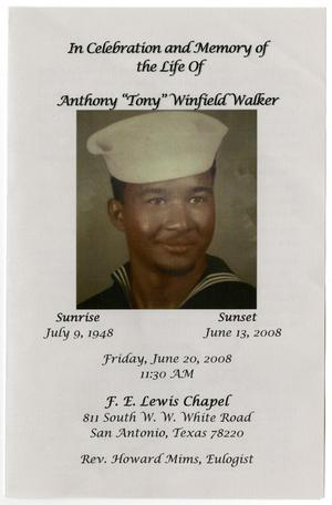 Primary view of object titled '[Funeral Program for Anthony Winfield Walker, June 20, 2008]'.