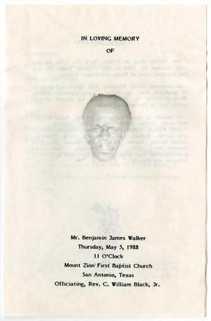 Primary view of object titled '[Funeral Program for Benjamin James Walker, May 5, 1988]'.