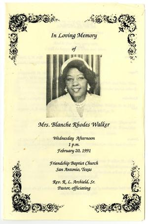Primary view of object titled '[Funeral Program for Blanche Rhodes Walker, February 20, 1991]'.