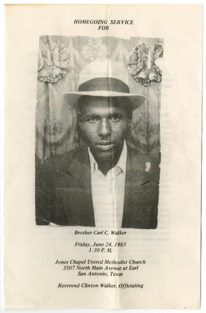Primary view of object titled '[Funeral Program for Carl C. Walker, June 24, 1983]'.