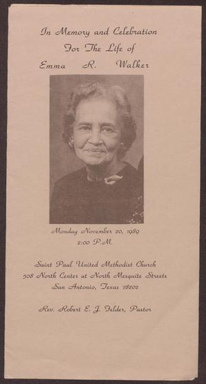 Primary view of object titled '[Funeral Program for Emma R. Walker, November 20, 1989]'.
