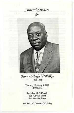 Primary view of object titled '[Funeral Program for George Winfield Walker, February 6, 1992]'.