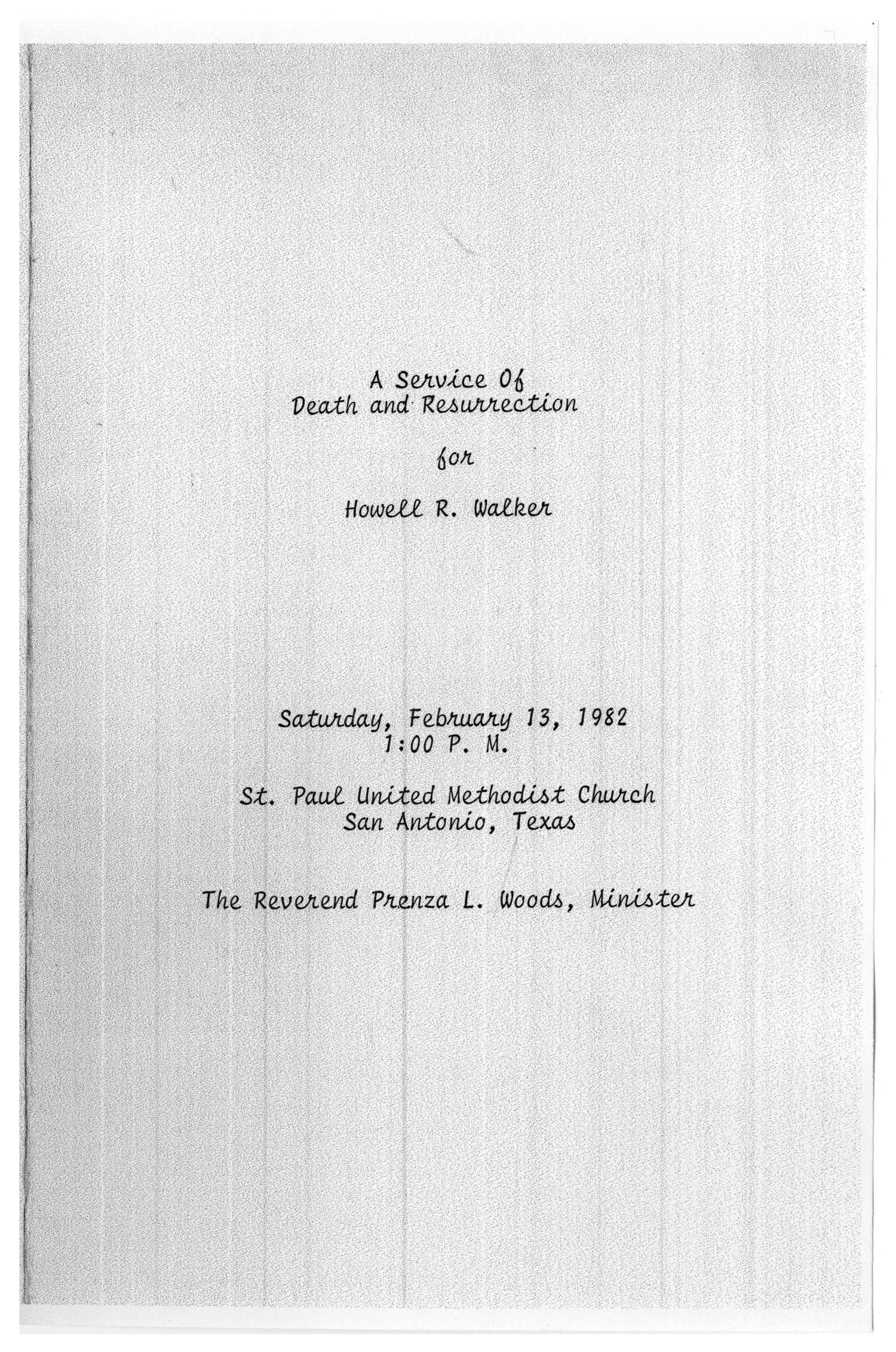 [Funeral Program for Howell R. Walker, February 13, 1982]                                                                                                      [Sequence #]: 1 of 3