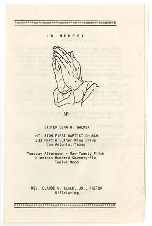 [Funeral Program for Lena H. Walker, May 25, 1976]