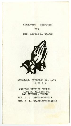 Primary view of object titled '[Funeral Program for Lottie L. Walker, November 21, 1981]'.