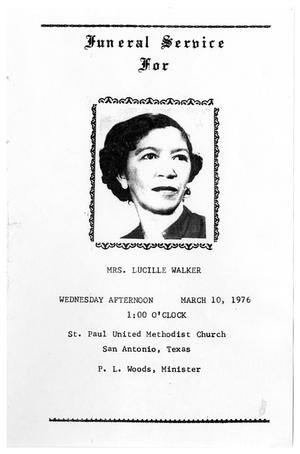 Primary view of object titled '[Funeral Program for Lucille Walker, March 10, 1976]'.