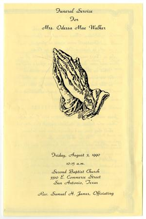 Primary view of object titled '[Funeral Program for Mrs. Odessa Mae Walker, August 3, 1990]'.