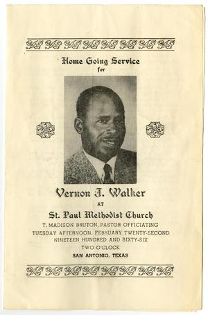 Primary view of object titled '[Funeral Program for Vernon J. Walker, February 22, 1966]'.