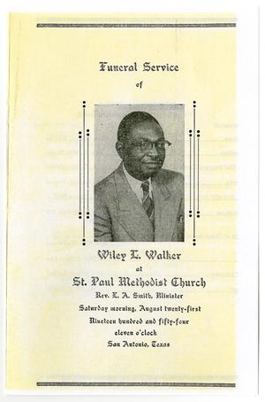 Primary view of object titled '[Funeral Program for Wiley L. Walker, August 21, 1954]'.