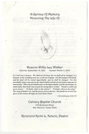 Primary view of object titled '[Funeral Program for Willie Lee Walker, March 8, 2009]'.