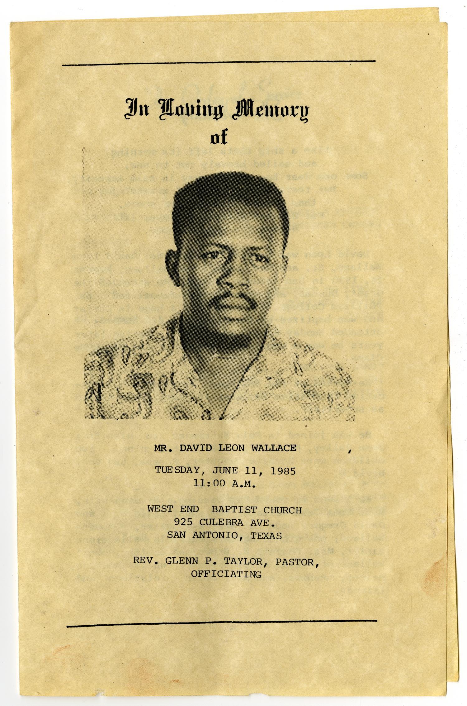 Funeral Program For David Leon Wallace June 11 1985