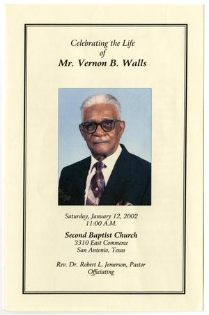 Primary view of object titled '[Funeral Program for Vernon B. Walls, January 12, 2002]'.