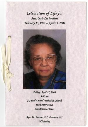 Primary view of object titled '[Funeral Program for Ossie Lee Walters, April 17, 2009]'.