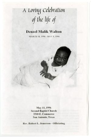 Primary view of object titled '[Funeral Program for Denzel Malik Walton, May 11, 1996]'.