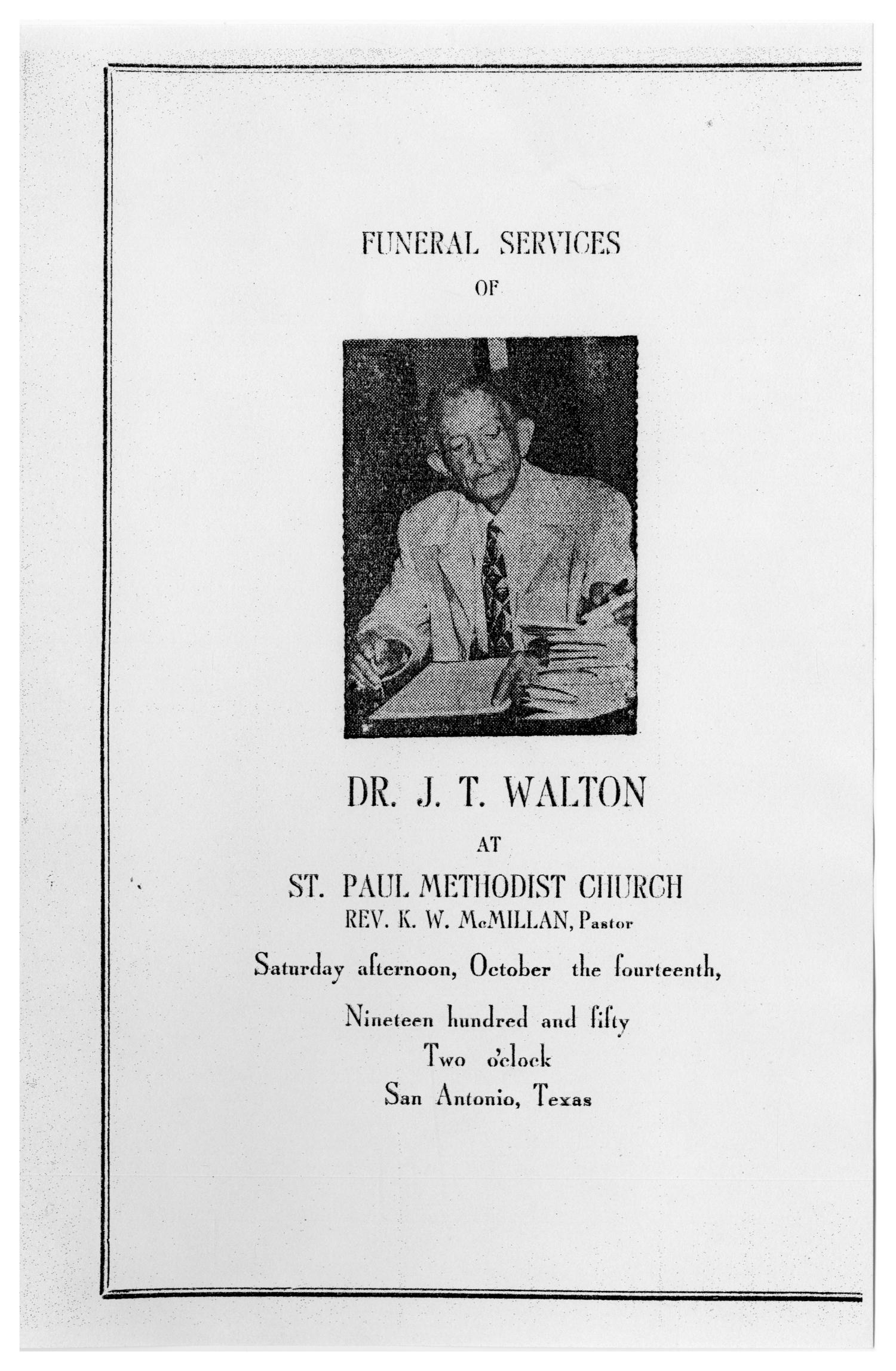 [Funeral Program for J. T. Walton, October 14, 1950]                                                                                                      [Sequence #]: 1 of 3