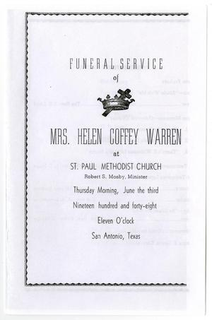 [Funeral Program for Helen Coffey Warren, June 3, 1948]
