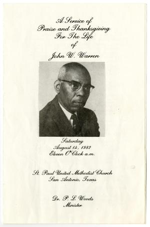 Primary view of object titled '[Funeral Program for John W. Warren, August 14, 1982]'.
