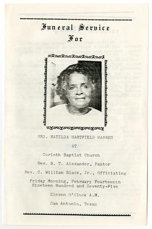 Primary view of object titled '[Funeral Program for Matilda Hartfield Warren, February 14, 1975]'.