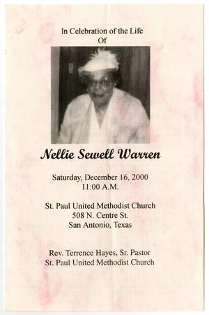 Primary view of object titled '[Funeral Program for Nellie Sewell Warren, December 16, 2000]'.