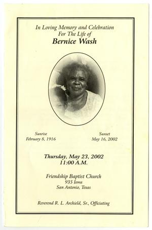 Primary view of object titled '[Funeral Program for Bernice Wash, May 23, 2002]'.