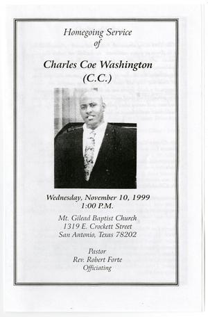 Primary view of object titled '[Funeral Program for Charles Coe Washington, November 10, 1999]'.