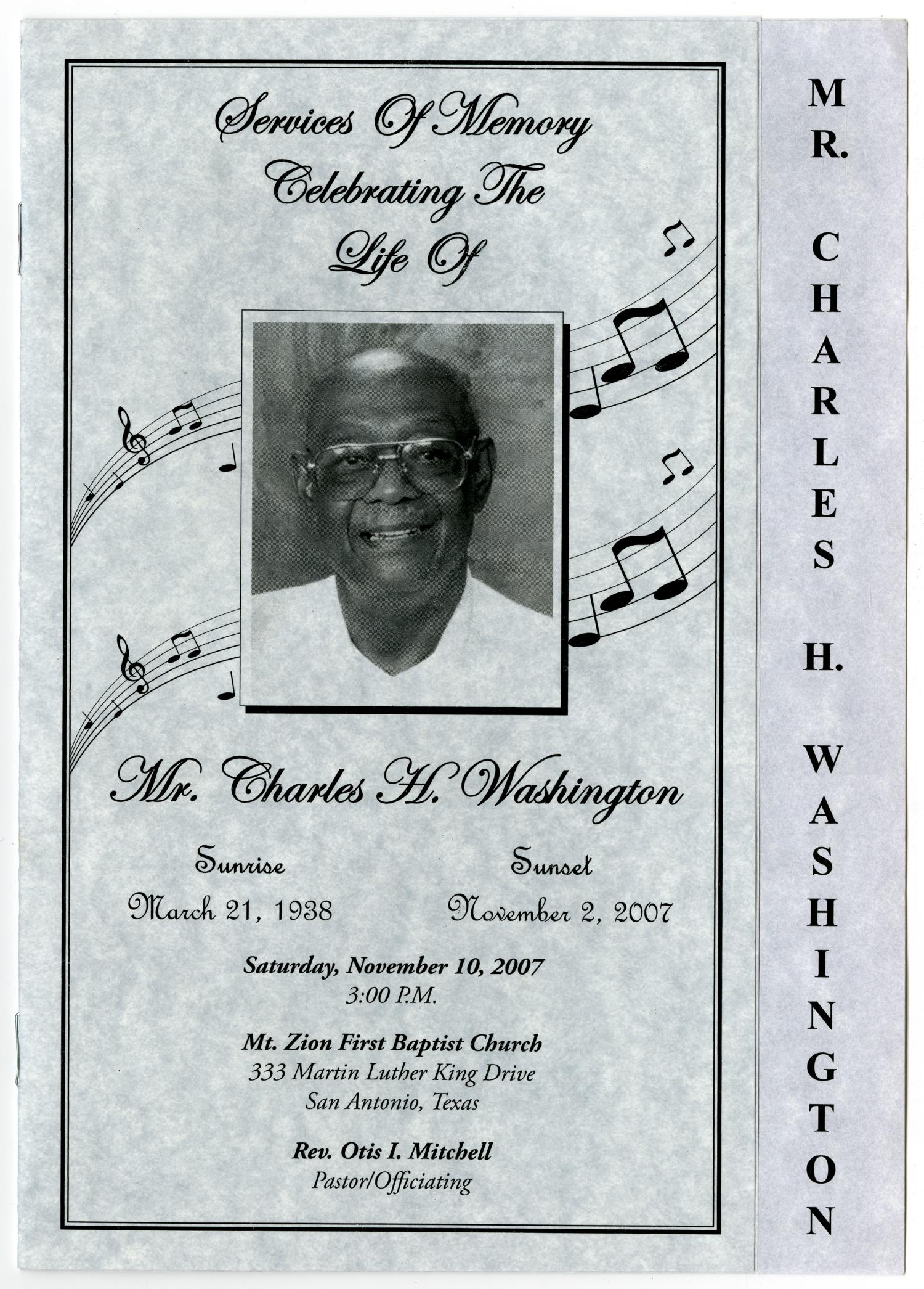 [Funeral Program for Charles H. Washington, November 10, 2007]                                                                                                      [Sequence #]: 1 of 5
