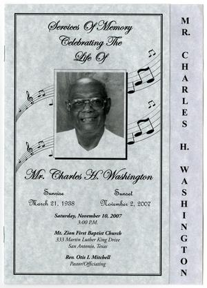 Primary view of object titled '[Funeral Program for Charles H. Washington, November 10, 2007]'.