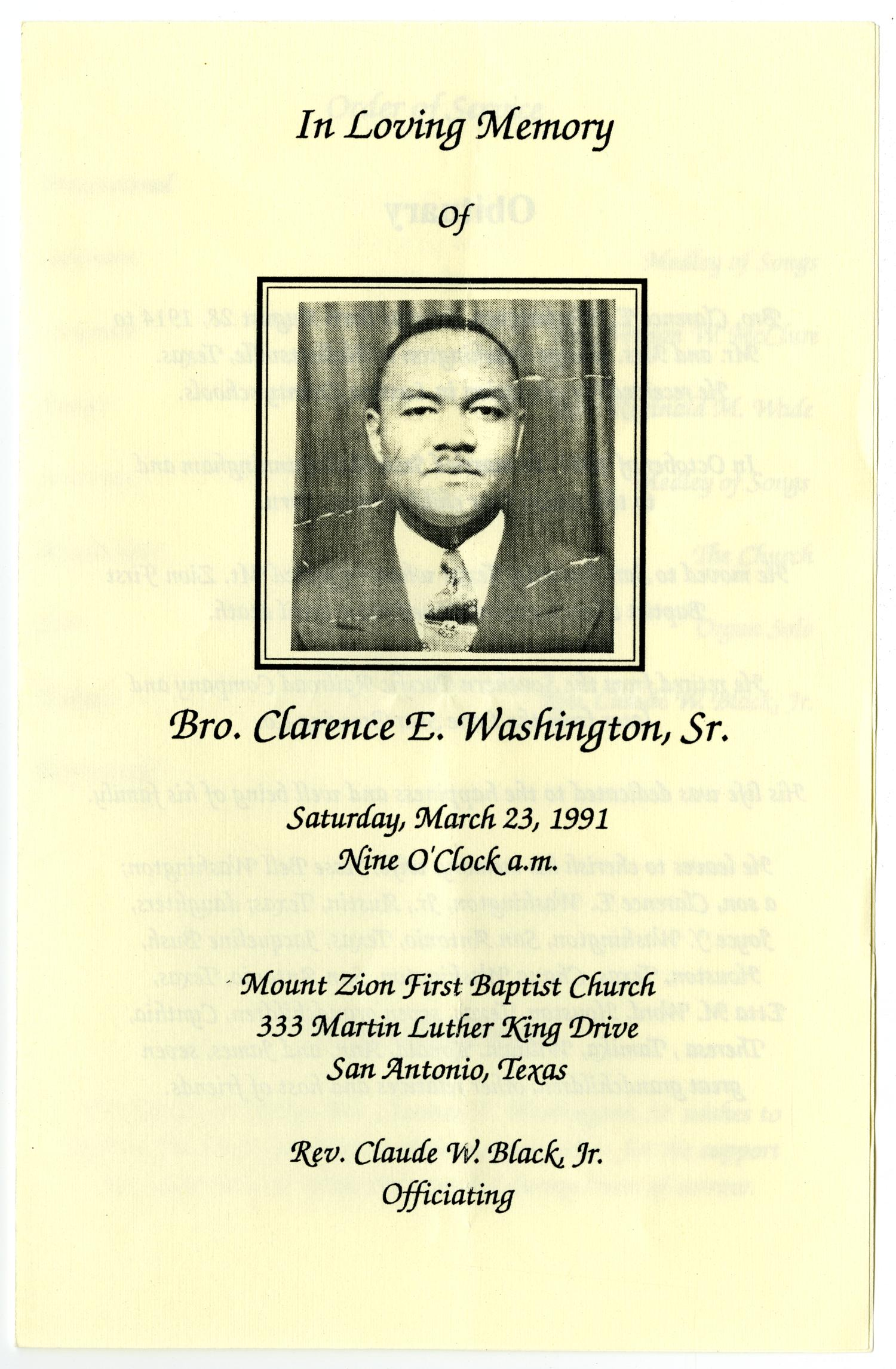 [Funeral Program for Clarence E. Washington, Sr., March 23, 1991]                                                                                                      [Sequence #]: 1 of 3