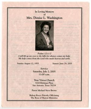 Primary view of object titled '[Funeral Program for Denise L. Washington, July 2, 2005]'.