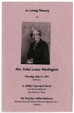 Primary view of object titled '[Funeral Program for Ethel Louise Washington, July 15, 1993]'.