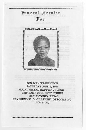 [Funeral Program for Jon Ivan Washington, June 1, 1974]
